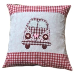 VW Camper Cushion - red gingham