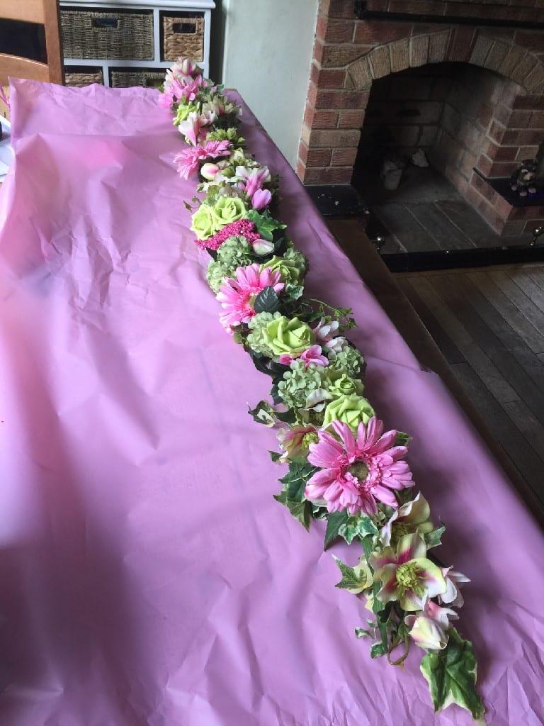 flower garland for vw camper wedding
