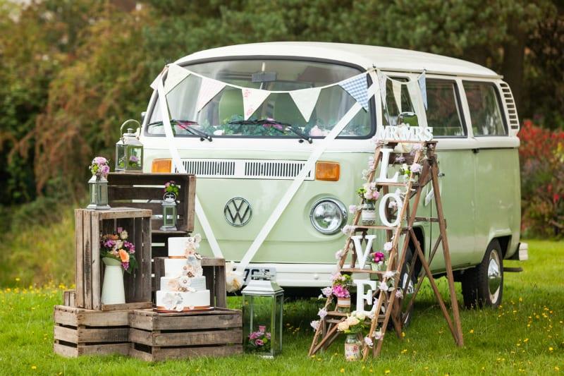 retro vw camper wedding surrey