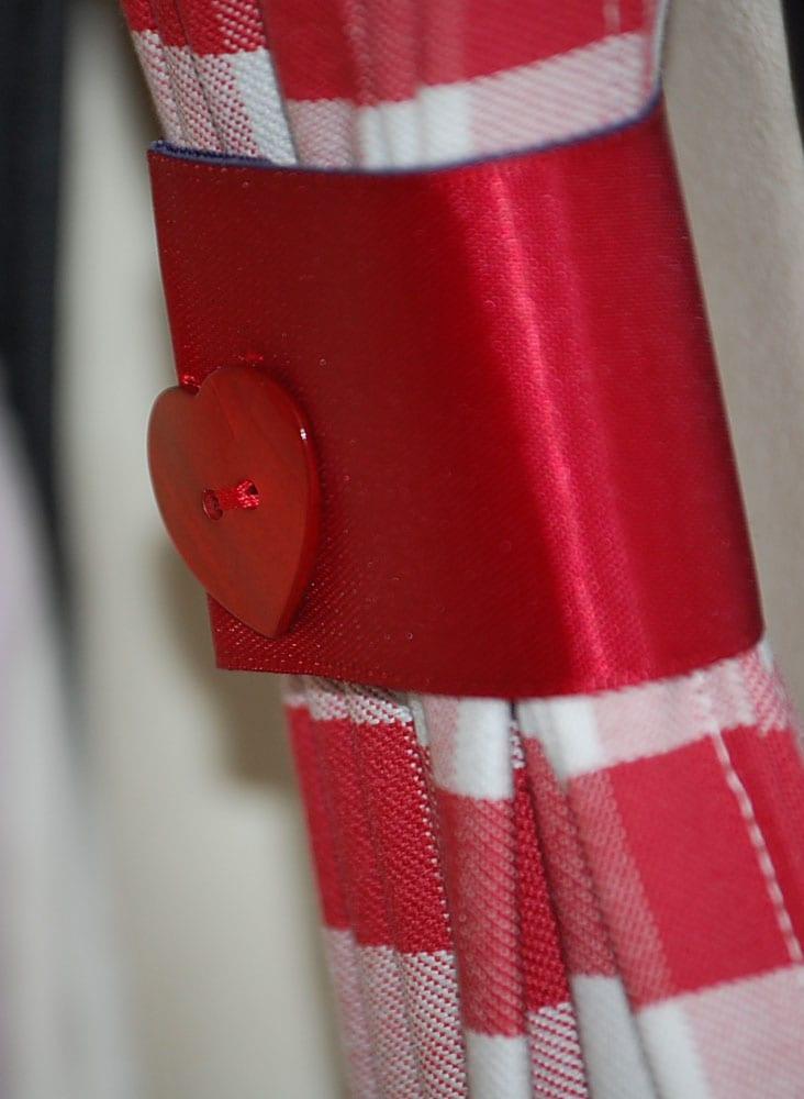 Heart tie backs on campervan curtains