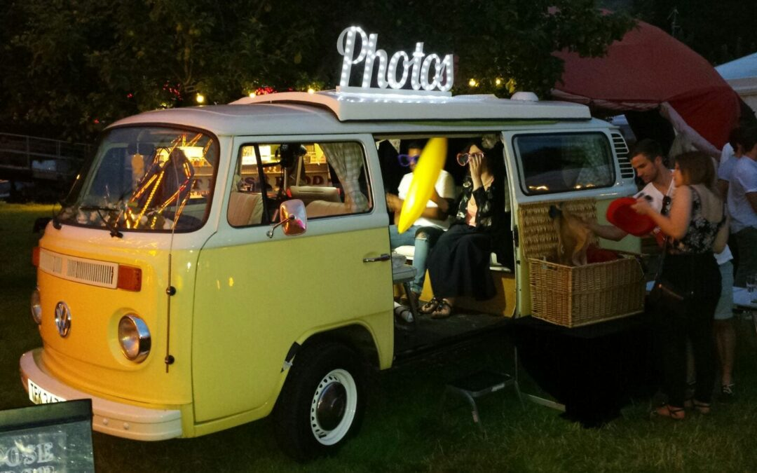 Campervan Photobooth for outdoor events with new light-up sign
