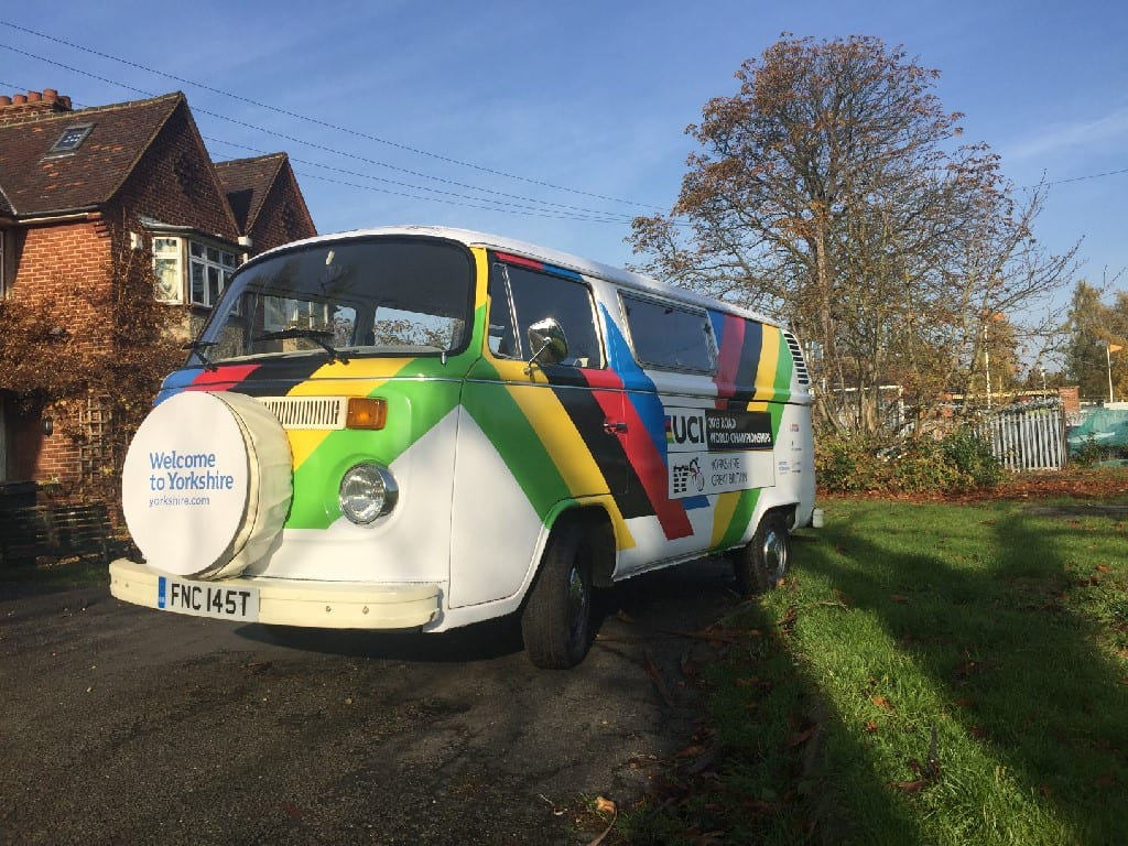 branded campervan at London Lord Mayor's Show Welcome to Yorkshire