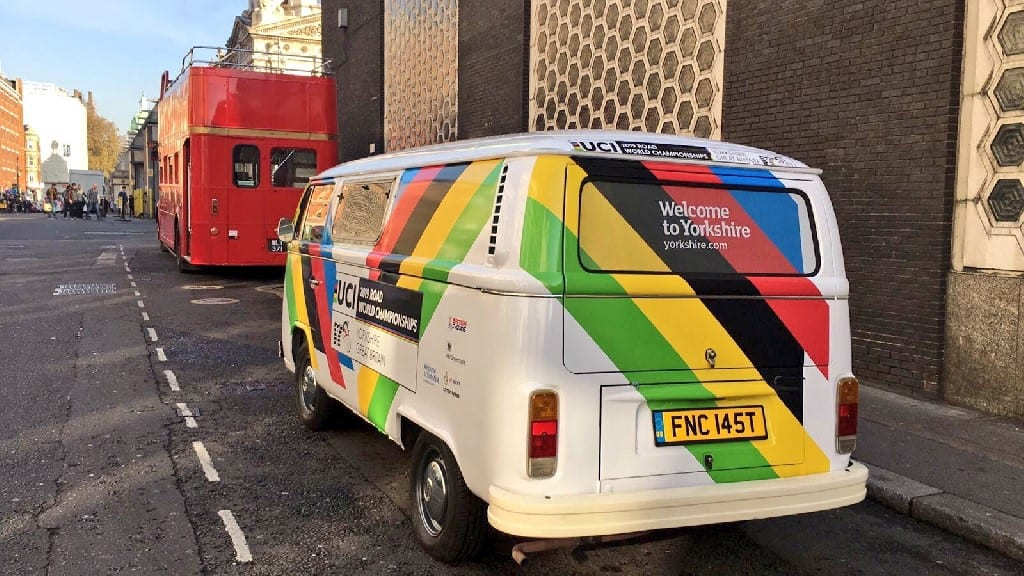 branded campervan at London Lord Mayor's Show