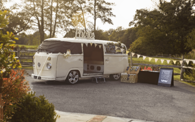 Campervan outdoor photobooth at Coltsford Mill in Surrey