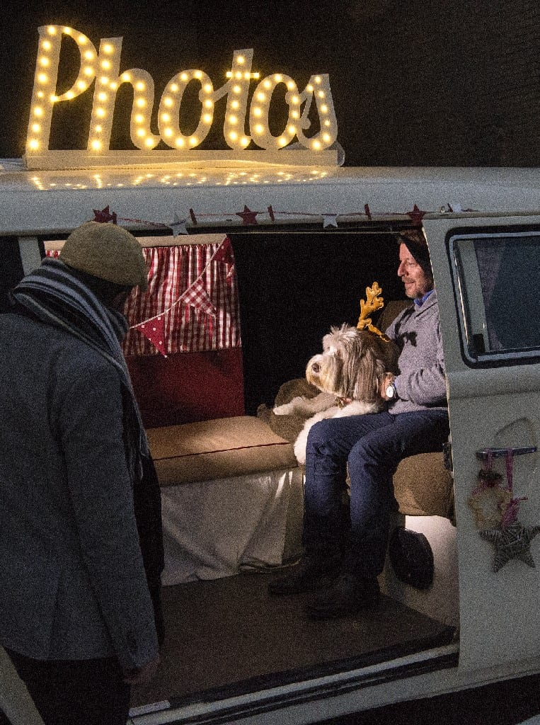 Xmas Surrey Campervan Photobooth for promotional event - provided by Buttercupbus.com