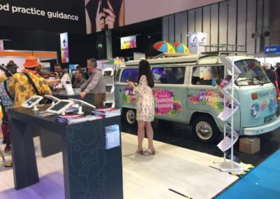 branded vw campervan hire exhibition stand