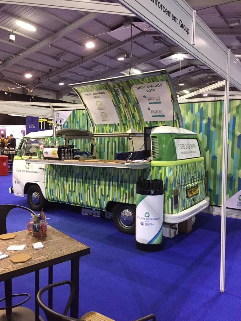 Branded classic campervan bar hire at exhibition stand