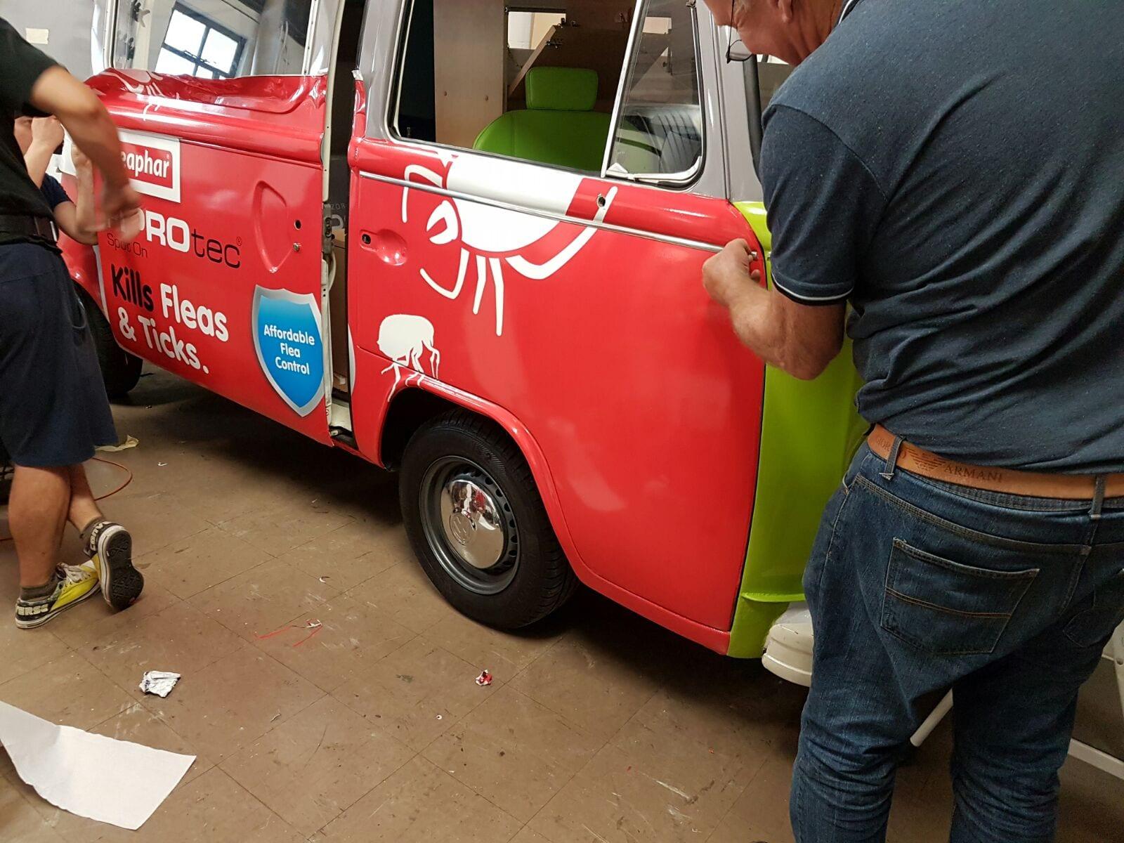Vinyl wrap branded classic campervan hire