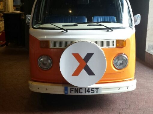 Branded campervan hire for London conference – Xactly