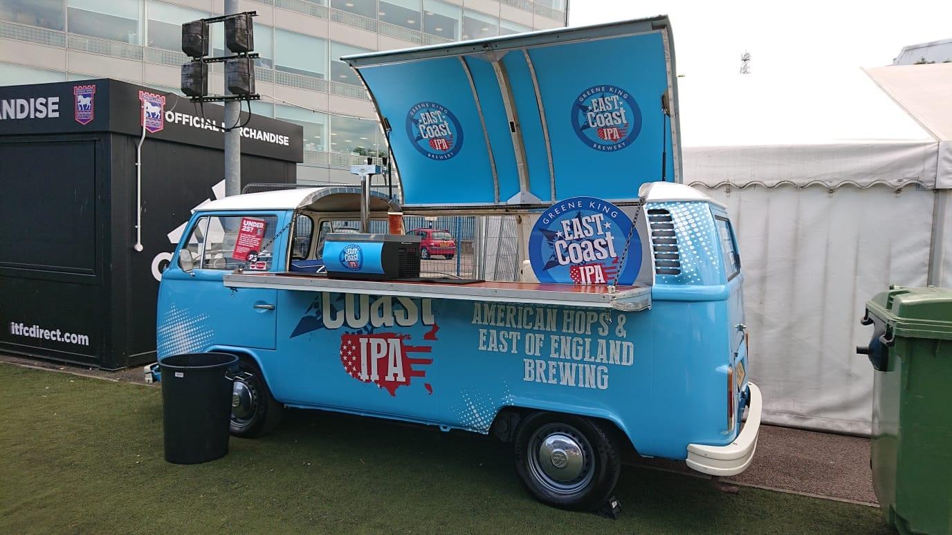 Classic campervan branded bar hire