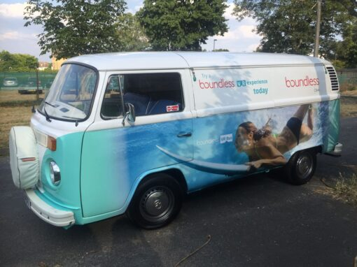 Branded VW camper hire with vinyl wrap for Boundless PR tour
