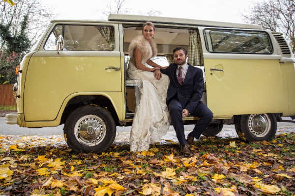 yellow classic campervan wedding hire Surrey