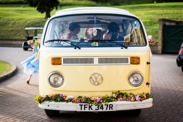 Buttercup Bus yellow classic campervan prom hire in Surrey