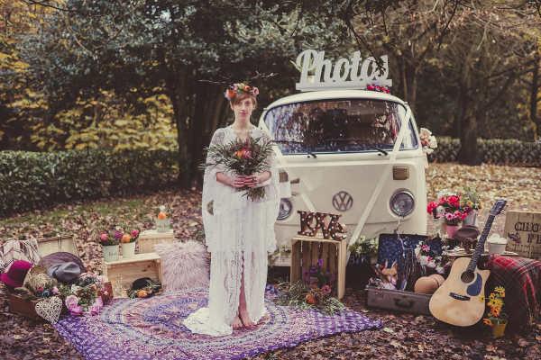 Pushka cream VW campervan wedding Surrey