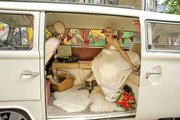 Pushka cream VW campervan wedding London