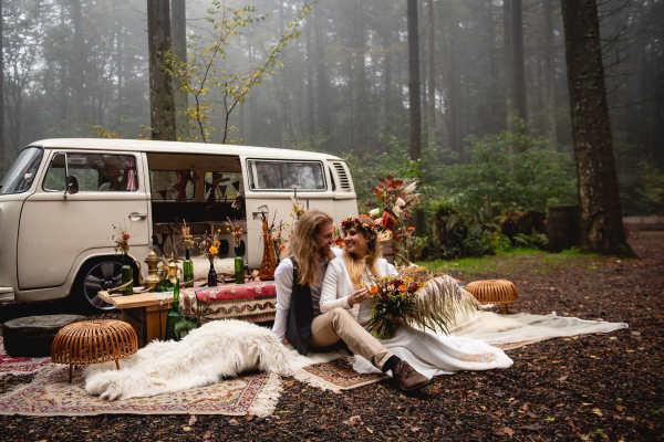 Pushka cream VW campervan wedding Kent