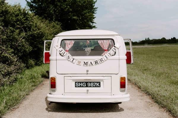 Pushka cream VW campervan wedding car hire in Surrey