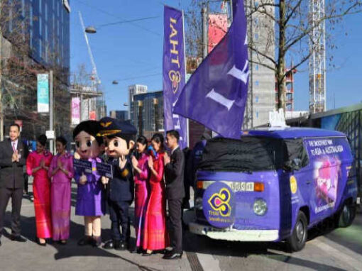 Branded campervan hire for Thai Airways at Wembley Cup Final