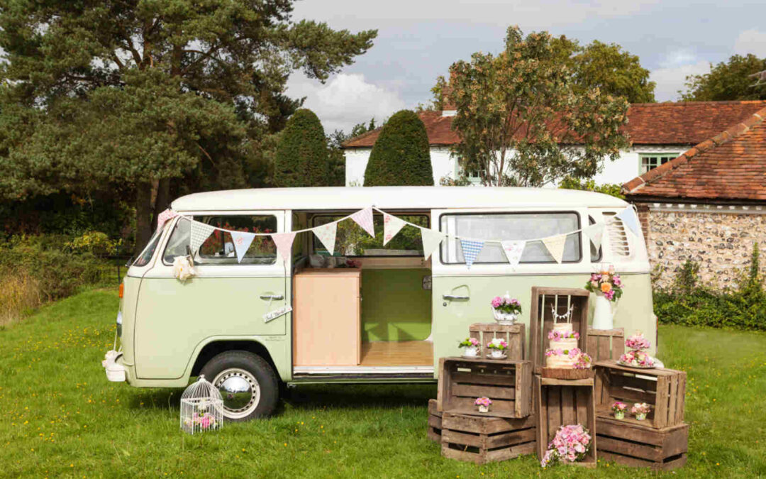 Basil Gets New Campervan Wedding Bunting