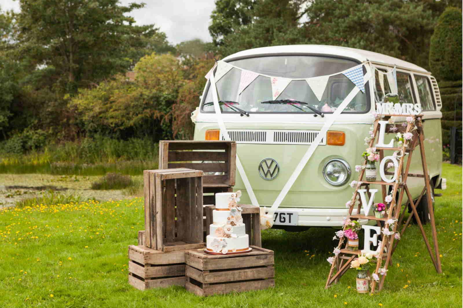 green campervan wedding car hire surrey sussex london kent