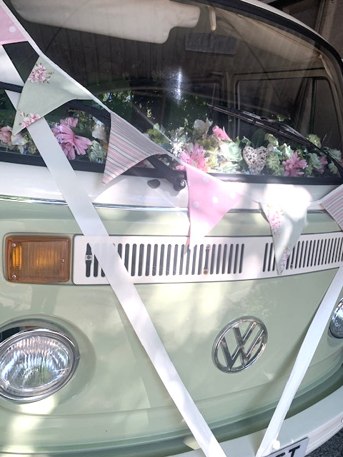 wedding campervan surrey bunting