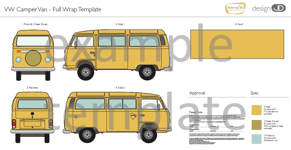 Classic campervan hire vinyl wrap template