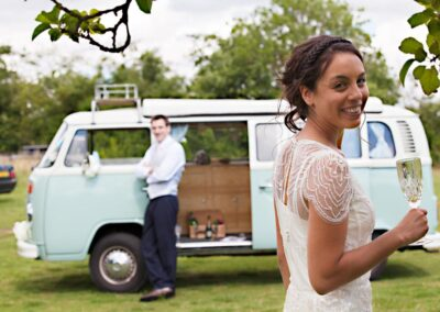 Campervan wedding car hire blue