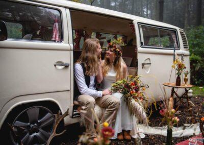 Boho buttercup bus campervan wedding car