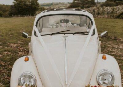 VW Beetle white wedding car rental