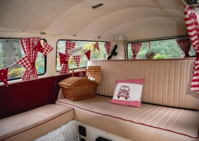 Inside Pushka the cream campervan at Buttercup Bus