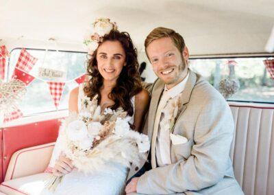 Inside pushka campervan wedding car
