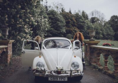 Old style vw beetle wedding car hire white
