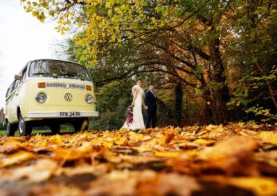 autumn wedding with a vw camper hire