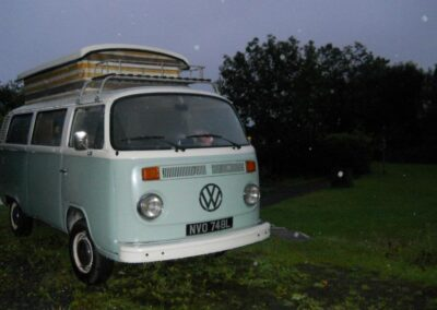 blue 1970s vw camper hire london