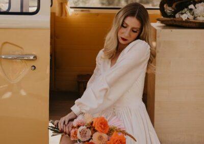 bride and campervan wedding car kent