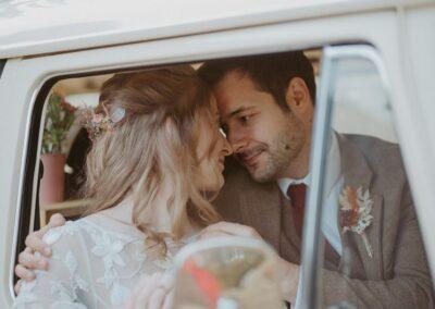 bride and groom bobo wedding campervan