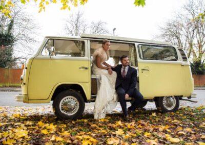 bride and groom vw camper wedding surrey