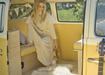 bride in campervan hire london