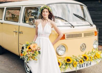 bride with campervan in kent