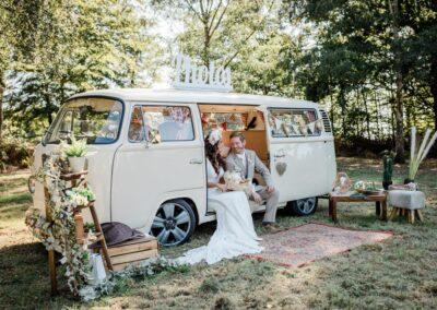 buttercup bus Pushka cream campervan wedding