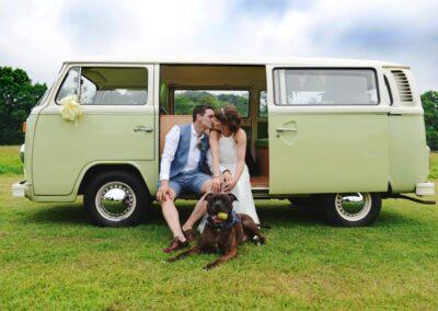 campervan wedding car green