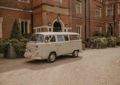 campervan wedding car at wotton house surrey