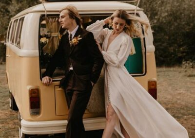 campervan wedding car boho