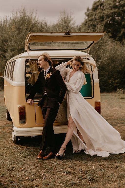 campervan wedding car boho