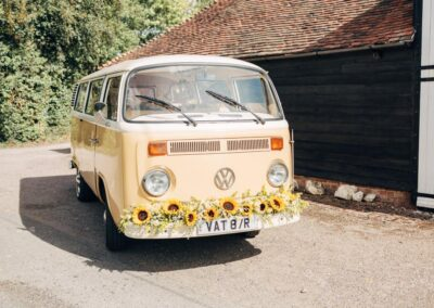 campervan wedding car with sunflowers kent