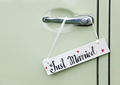 campervan wedding just married