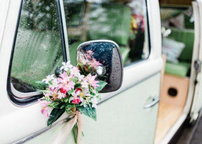 campervan with flowers buttercupbus basil bus