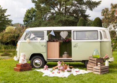 classic campervan wedding car green - basil
