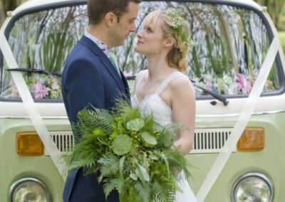 green campervan wedding