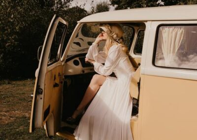 honey colour vw camper wedding